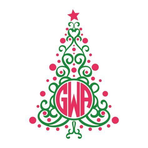 christmas tree monogram svg cuttable frames svg