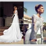 Sheer Long Sleeves Wedding Dress V-Back Chiffon Lace Bridal Wedding ...