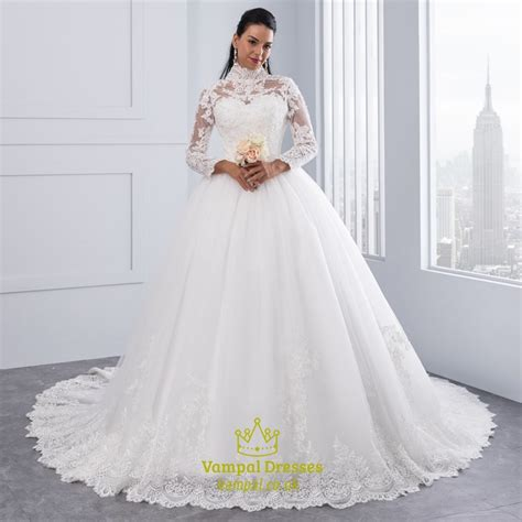 High Designer Wedding Dresses by High Neck Sleeve Lace Embellished A Line Gown