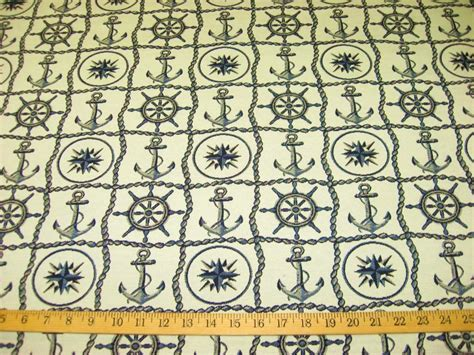 Nautical Upholstery Fabric by Hook And Anchor Nautical Jacquard Upholstery Or Drapery