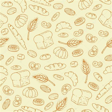 vector pattern hand drawn vector pattern with hand drawn bakery products stock