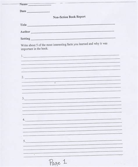 fiction book report form non fiction book report new calendar template site
