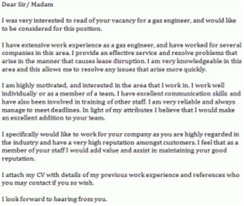 cover letter for and gas gas engineer cover letter exle learnist org