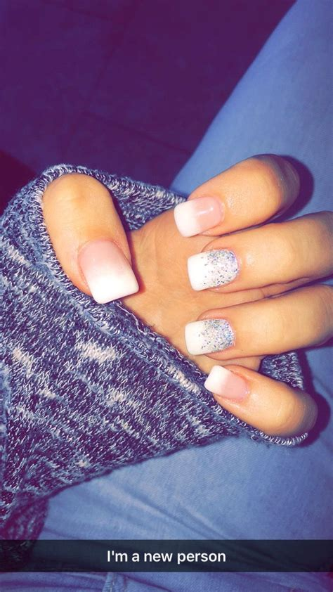 Acrylic Nail Tips by Glitter Ombr 233 Acrylic Nails Winter Fall White