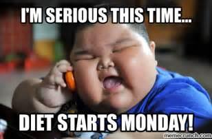 Diet Meme - diet starts monday