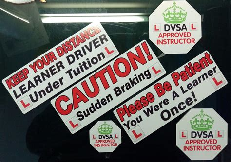 learner driver instrcutor car sticker decal  piece set