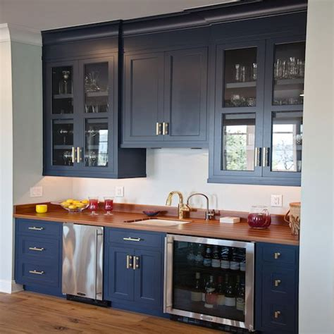 wet kitchen cabinet navy blue kitchen wet bar fitted with shaker cabinets
