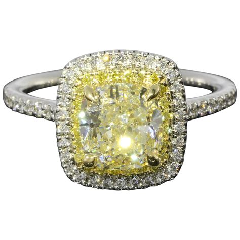 2 02 carat canary radiant gold halo engagement