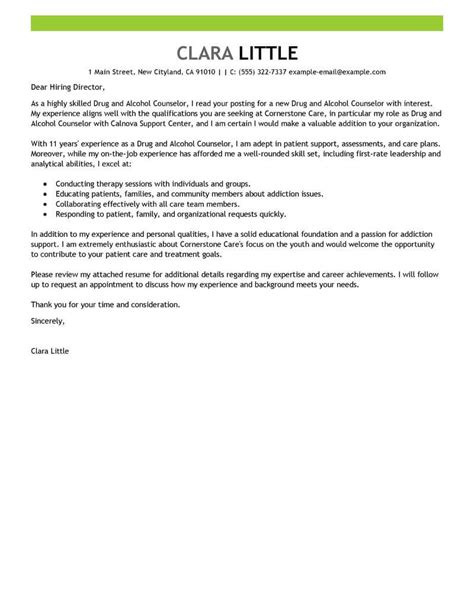 drug  alcohol counselor cover letter examples