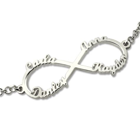 white gold infinity bracelet with 2 names opersonalized