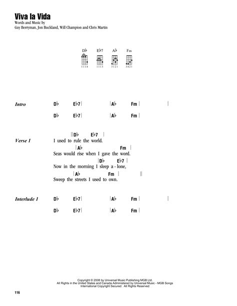 strumming pattern to yellow by coldplay viva la vida sheet music by coldplay ukulele with