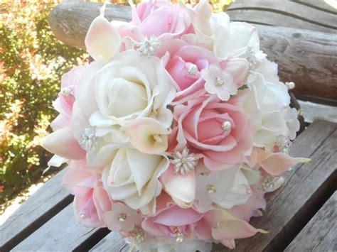 Cake Vase Set Blush Pink Bridal Bouquet White Real Touch Rose Calla