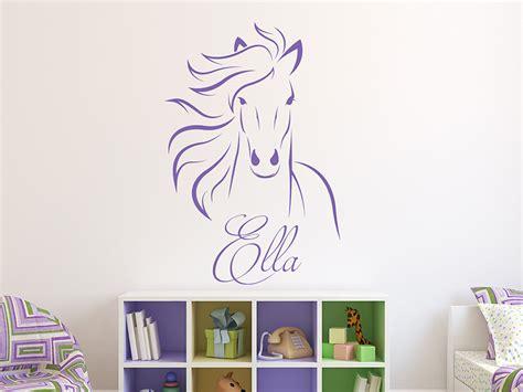 Wandtattoo Kinderzimmer Mädchen Pferde by Wandtattoo Pferd Mit Wunschname Pferdekopf Wandtattoo De