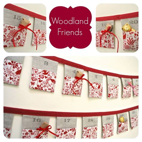 Handmade Advent Calendars - handmade bunting advent calendar woodland friends by sew