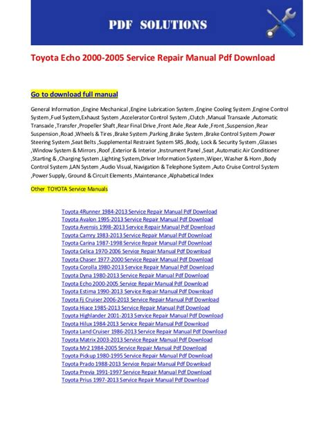 best auto repair manual 2000 toyota echo spare parts catalogs toyota echo 2000 2005 service repair manual pdf download
