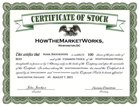What Is A Stock Stock Option Certificate Template