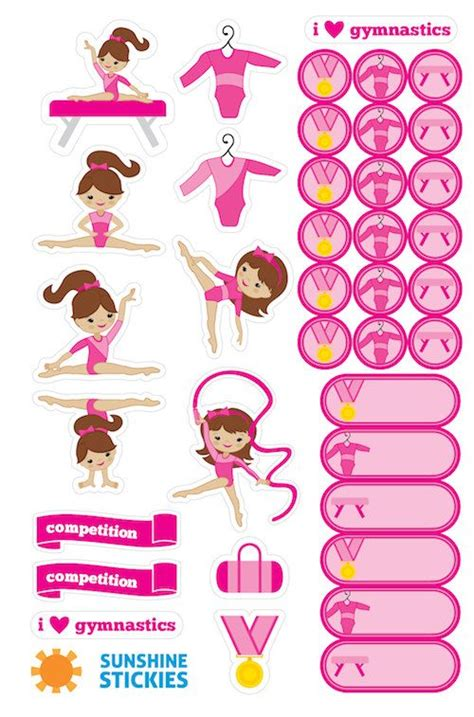 printable gymnastics stickers 38 gymnastics dance planner stickers great by