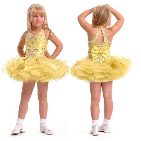 Halter Short Organza Yellow girls short pageant dresses
