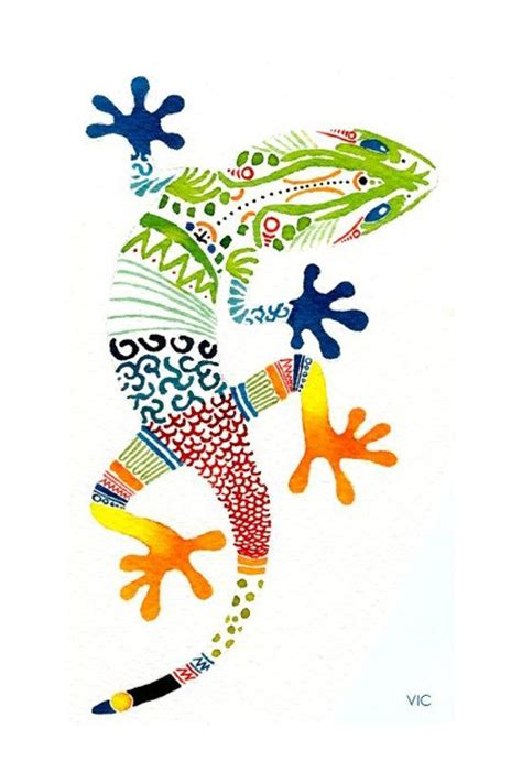 colorful lizard drawing www pixshark com images