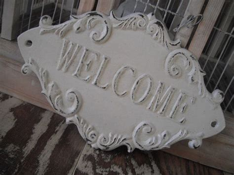 shabby chic welcome sign door sign cast iron sign french country sign ornate sign rustic