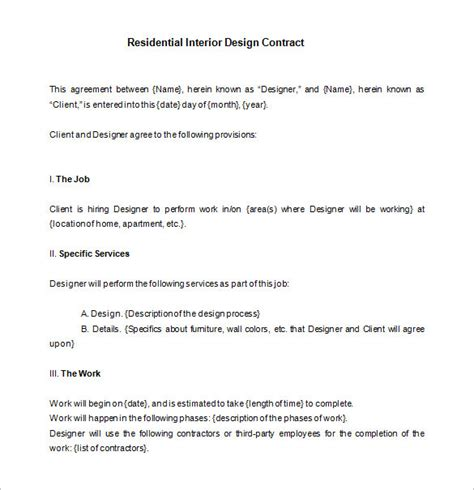 Agreement Letter For Design interior design contract template free