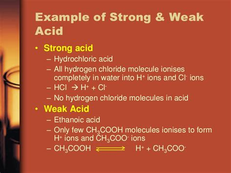 exle of weak acid strength of acid and alkali