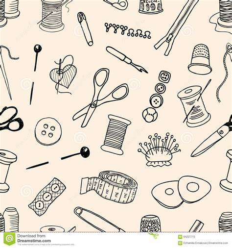 vector pattern maker pattern of sewing kit stock vector image 64227715