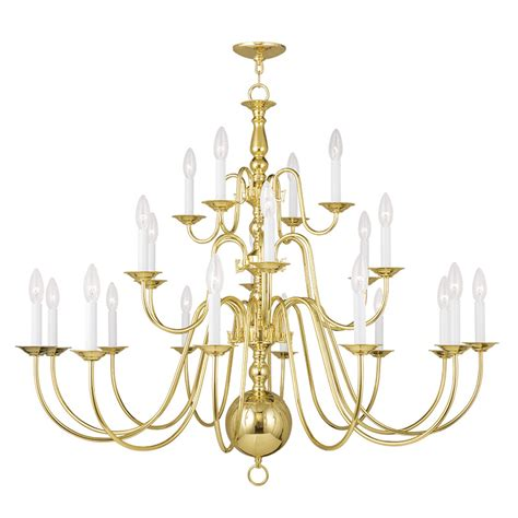 Livex Lighting Williamsburgh Polished Brass 22 Light Williamsburg Brass Chandelier