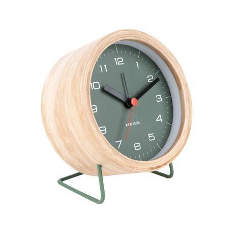 contemporary alarm clock green wood