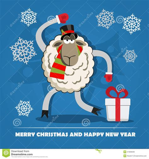 new year sheep gift sheep with gift box on stock vector image