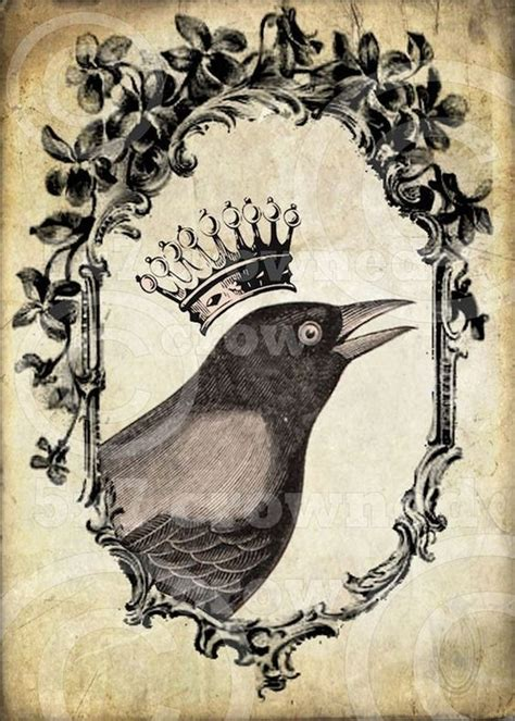 digital tattoo printer crowned crow printable download digital collage sheet