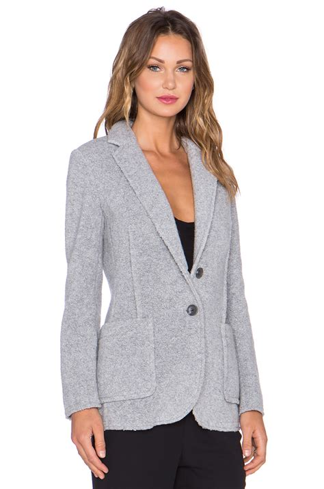grey knit blazer atm wool shearling knit blazer in gray lyst