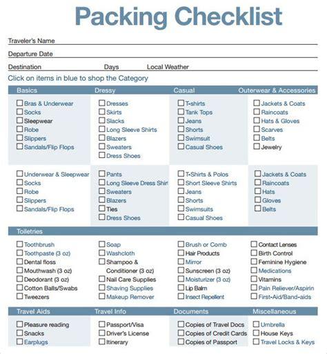 packing checklist template 16 best travel checklist images on checklist