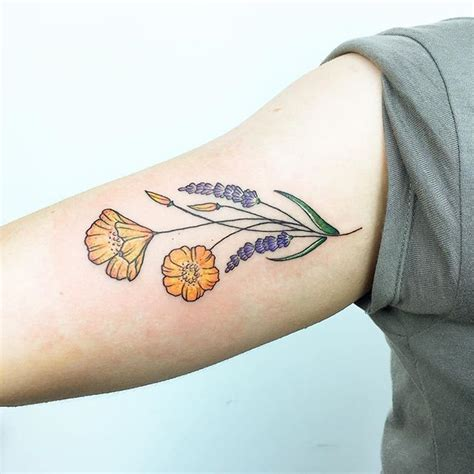 california poppy tattoo designs california bouquet lavender and poppies tattoos