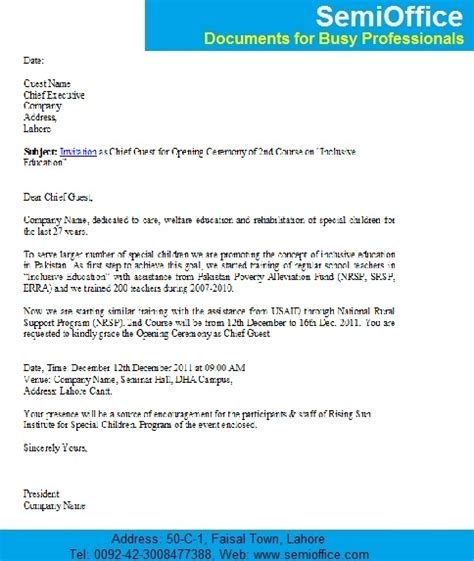 Invitation Letter For Conference As Chief Guest Sle Invitation Letter To Chief Guest