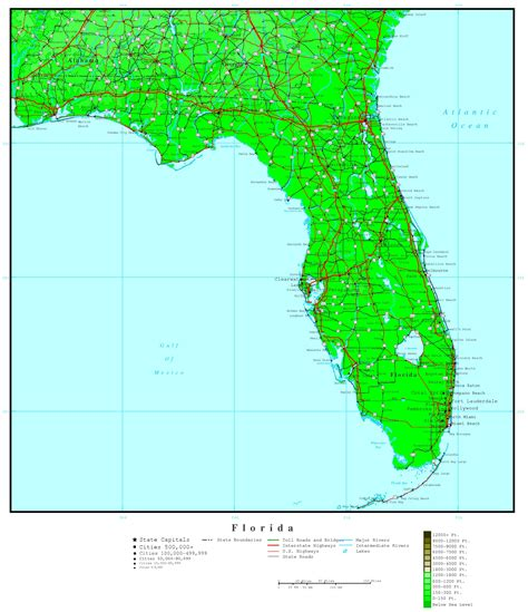 map of fla florida elevation map