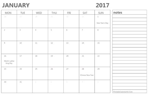 printable calendar room for notes 10 best january 2017 calendar printable with holidays and