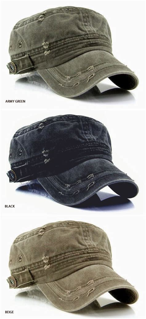 short vintage cap cut hairstyle accessories vintage washed military short brim hat for