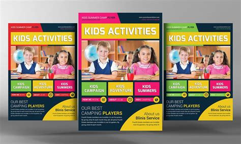 Kids School Education Flyer Template Flyer Templates Creative Market Free School Flyer Templates