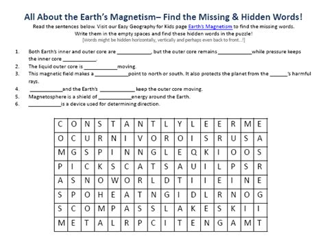 printable word search thailand image of earths magnetism worksheet downloadable free to