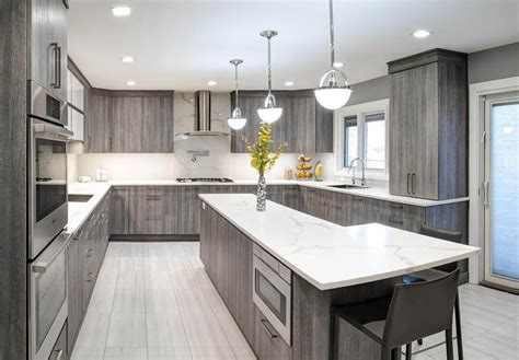 light grey stained kitchen cabinets  white tile
