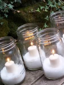 Mason jar candles with fake snow
