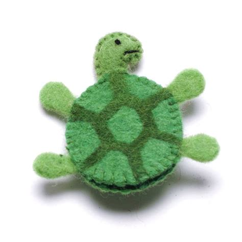 Handmade Turtle - handmade felt animal turtle finger puppet by felt so
