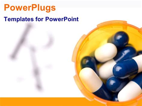 Powerpoint Template Pill Capsules In Orange Bottle Pharmaceutical Powerpoint Templates