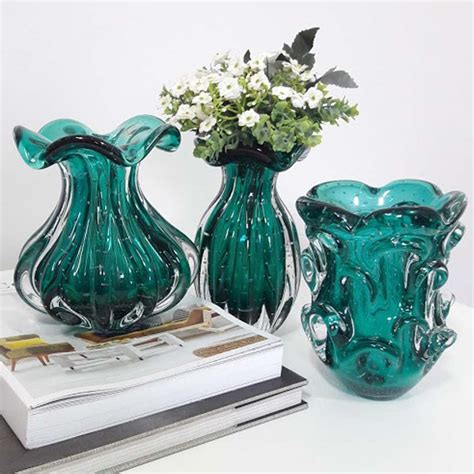 vaso murano mini vaso de murano cristal verde esmeralda aspente