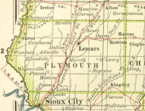 Plymouth County Records 1897 Century Atlas Of The State Of Iowa