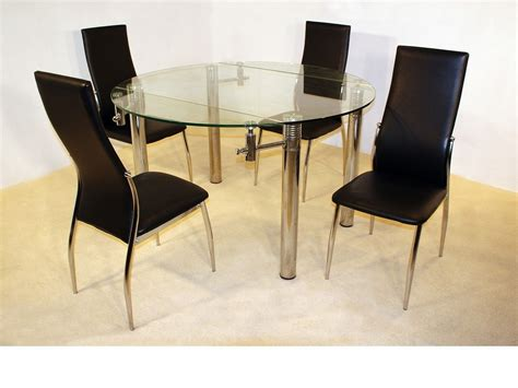 large 130cm clear glass dining table 4 chairs