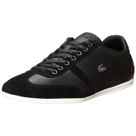 mens black sneakers lacoste misano 33 mens shoes black leather casual fashion
