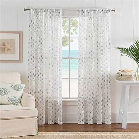 nautical bathroom window curtains nautical anchor rod pocket sheer window curtain panel in white blue bed bath beyond