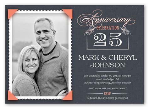 shutterfly card template 25th wedding anniversary invitations shutterfly